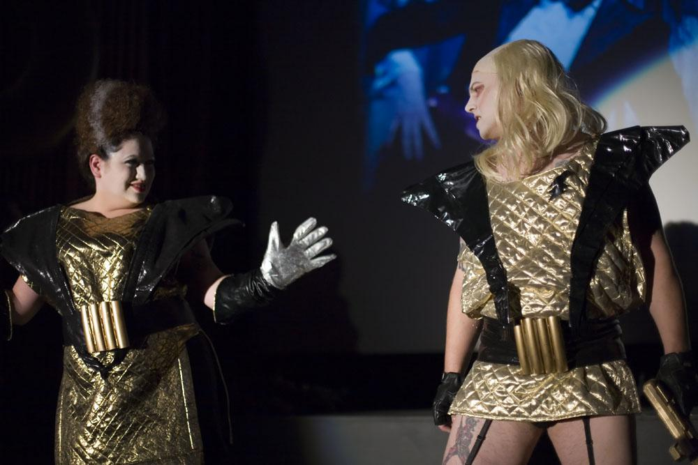 "Members of ""The Bawdy Caste"" portray the iconic characters Magenta (left) and Riff Raff during the film."