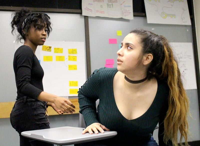Drama+students+Cierra+Nelson+and+Valerie+Naranjo+rehearse+a+scene+from+LMC%27s+latest+production+%27Shapeless.%27