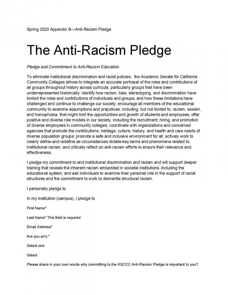 The ASCCC anti-racism pledge that the 4CD Academic Senates adopted.