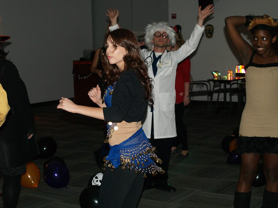 Students dance the night away at the Honors sponsored event. Halloween Bash.