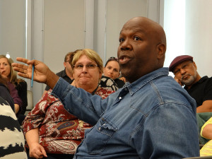 Music Department Chair Silvester Henderson argues a vital point during the meeting. Photo taken in 2013.
