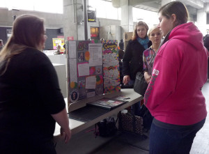 Students Rene DeAmaral, Ashley Sandoval, Kalee Kennedy and Chloe Cooper learn about careers in art.