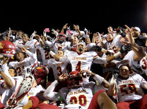 LMC players celebrate after their win in Contra Costa Friday over the Comets.