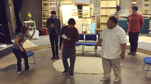 From left to right, actors Miranda Ketchum, William Pinnell, Fredrico Bartolo, Joseph Latu and TJ Spadini rehearse for the upcoming play called The Government Inspector.