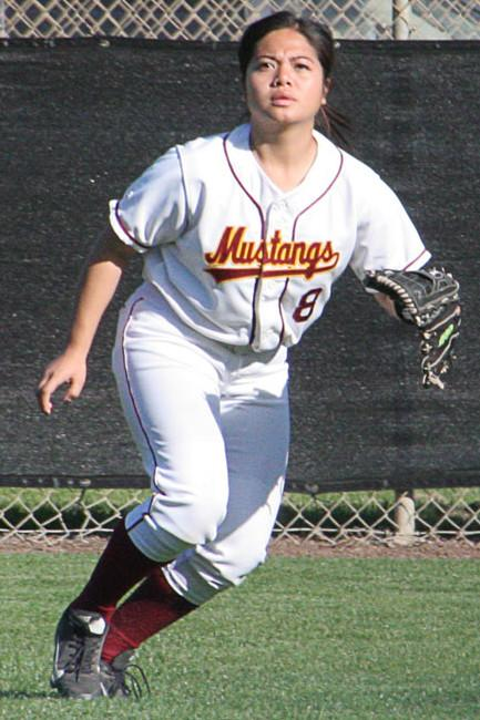 LMC+Softball+player+Venessa+Laxa++reacting+to+ball+that+was+possibly+coming+her+way.+March+18%2C+2014.+LMC+softball+field%2C+Pittsburg%2C+Calif.
