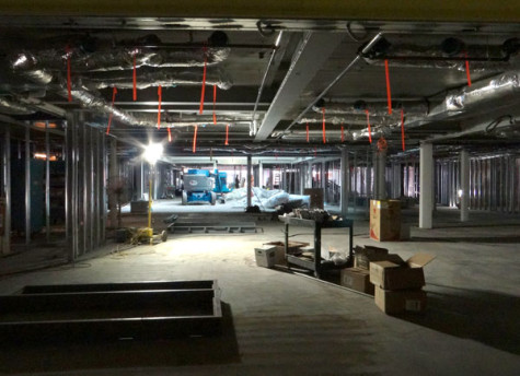 The third floor of the construction zone presents a work-in-progress view of the Student Resource Area.