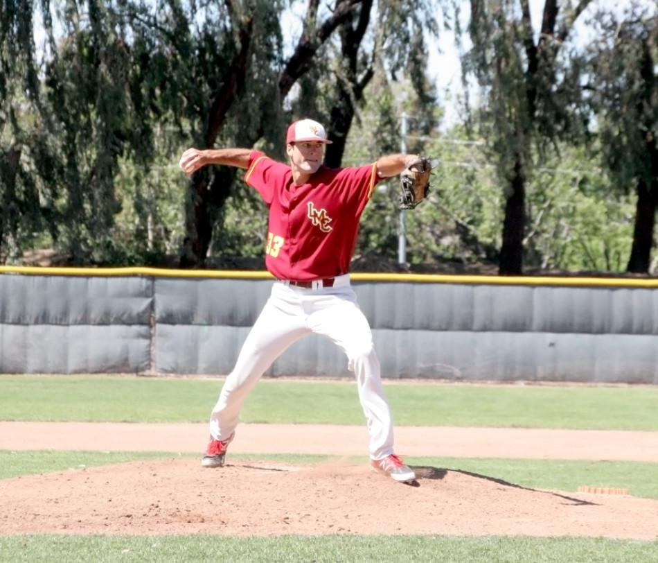 Ryan+Petrangelo+pitched+seven+innings+in+Tuesday%27s+11-4+win+over+Laney+that+clinched+the+playoffs+for+the+Mustangs.