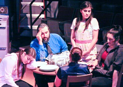 "In the play ""Daddy's Little Girl,"" Angelica (Natalia Philbin) spikes her family members drinks as part of her evil plan."