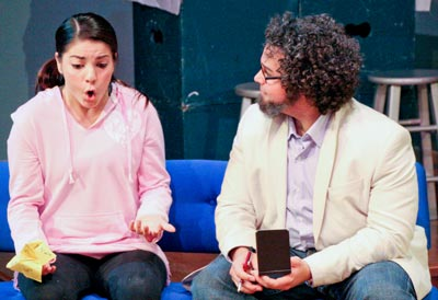 Monica (Alexis Moreno) explains her aspirations and thoughts about art to Dr. Gabriel Morales (Zack Neese).
