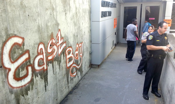 Graffiti on the wall near the College Complex Level Two entrance reading
