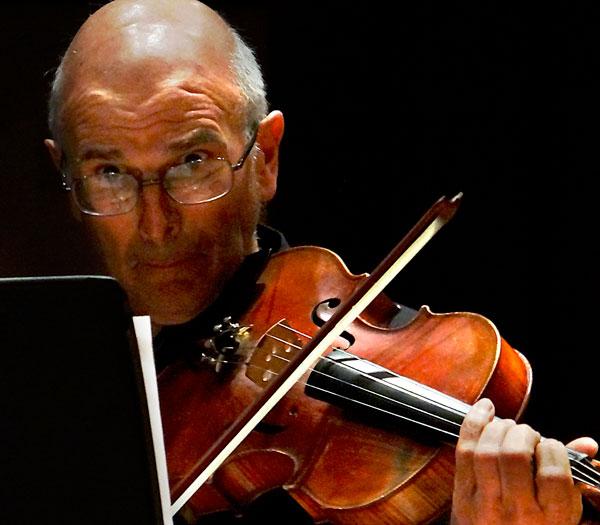 Chris Lanzafame plays viola during the LMC Baroque Ensemble.