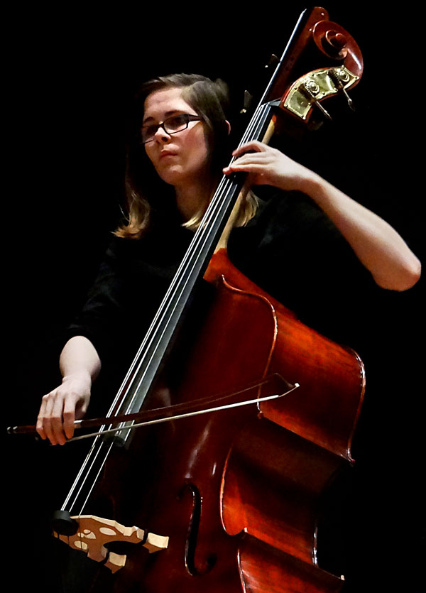 Rachel Dunzweiler plays double bass during the LMC Baroque Ensemble.