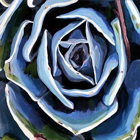 """""""Blue Echevaria"""" by Lorainne Mayo. Acrylic on canvas."""