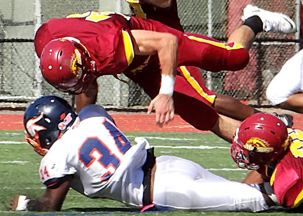A potential helmet-to-helmet hit in the Oct. 5 LMC vs. West Valley College game.