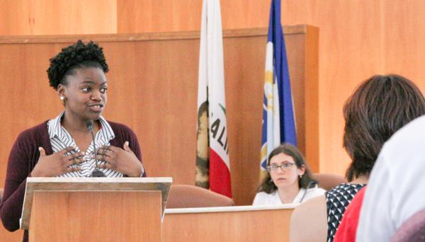CCC Debator Diamonique Smith argues a point during a debate against LMC about Measure E May 1 at Pittsburg City Hall.