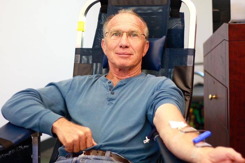 Pat Martucci takes part in the blood drive hosted by Student Life and the Blood Centers of the Pacific at Los Medanos College. The event was held in the Library Sept. 16.