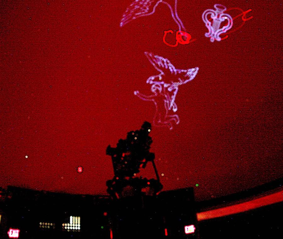 Jeff Adkins's Wednesday night Intro to Astronomy class studies constellations using the newly repaired star projector in the Planetarium that was previously inoperable during the Spring 2013 semester.
