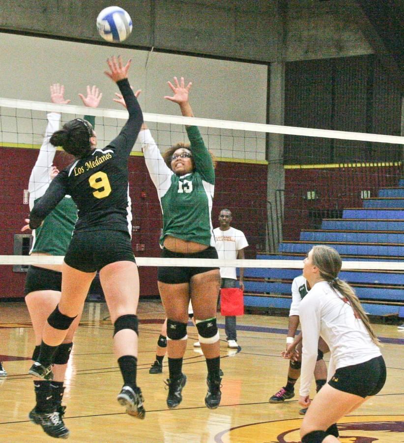 In the 3-0 win over visiting Napa Valley, Anna-Silvia Vega leaps to spike the ball.
