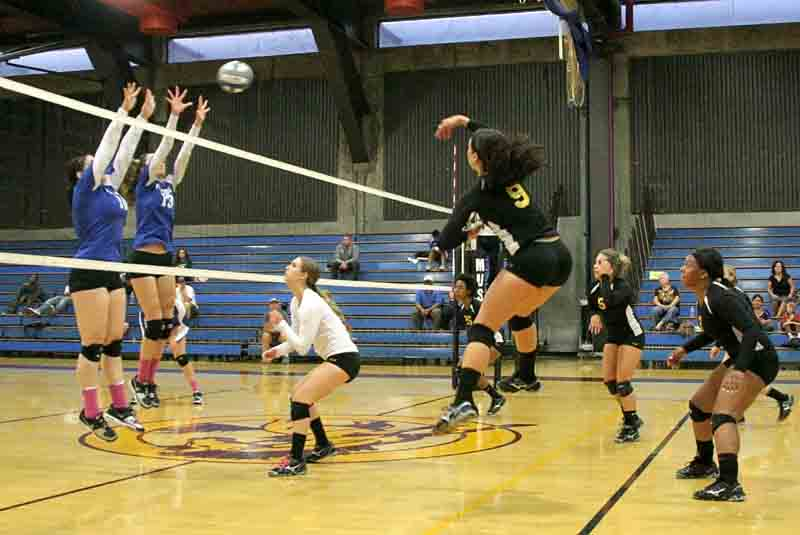 Previously unbeaten in conference, Solano College falls in defeat at the hands of the Mustangs. During the 3-1 win over Solano, LMC outside hitter Anna-Silvia Vega launches the ball over the outreached hands of the Falcon players.