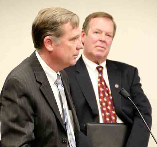 Chief Facilities Planner Ray Pyle and Real Estate Consultant Howard Sword at the Nov. 12 Governing Board meeting.