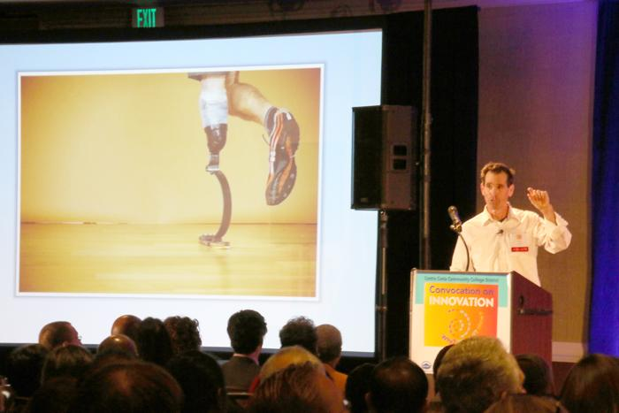 Keynote+speaker+Van+Phillips+presents+to+the+crowd+on+the+innovation+evident+in+the+prosthetics+industry.