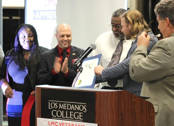 LMC Asosciated Students was presented an award from Congressman Jerry McNerney for their efforts in voicing the concerns of student veterans on campus. From left, Sable Horton, Gary Walker, Reginald Turner, Stuart Wadsworth and Assemblyman Jim Frazier.