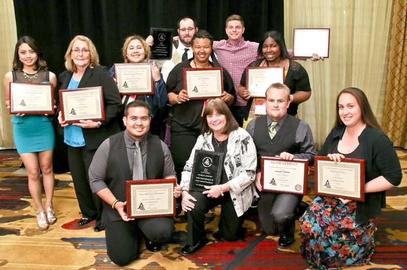 The+LMC+Experience+staff+members+with+the+awards+won+at+Journalism+Associates+of+Community+College+%28JACC%29+state+convention.