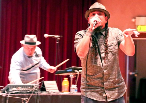"Deuce Eclipse, right, and Juan Manuel Caipo perform as band Bang Data during the 5th annual ""Right to Dream"" Dreamer's Conference March 28 at LMC. The conference aimed to inspire social activism to aid the children of undocumented immigrants in the spirit of people like Cesar Chavez and Dr. Martin Luther King Jr."
