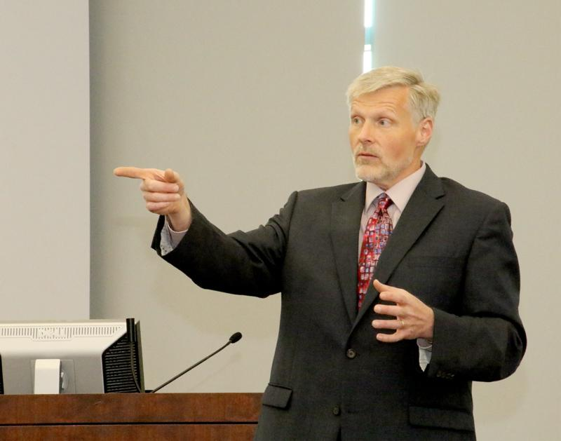 Executive Vice Chancellor Gene Huff during a budget forum April 27.