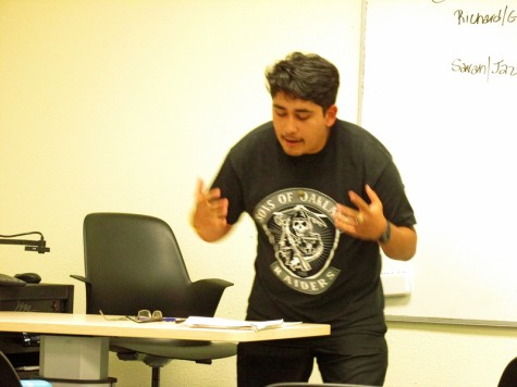 The Debate Team hones their skills Oct. 7 during a practice session. The team scrimmaged on the topic of whether or not a post-gender society is preferrable over the current status quo. Team advised by Marie Arcidiacono. (Raider shirt is Genaro Mauricio)