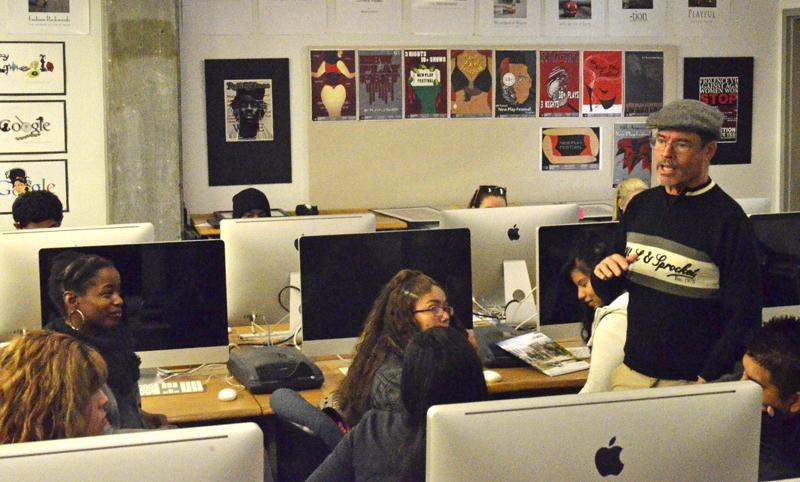 Graphics Instructor Curtis Corlew leads a workshop, detailing what students can learn from taking graphics classes, as well as what may come from enrolling in a community college.