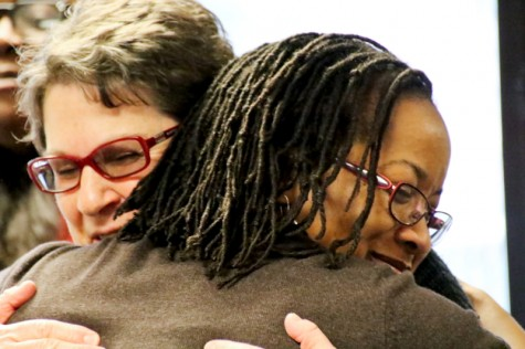 Demetria Lawrence farwell. As she will be leaving LMC to start her new role as the new Interim Director Of Student Life at Diablo Valley College on Dec 1, 2015. Ruth Goodin is giving Demetria Lawrence a farewell hug. Cathie Lawrence/Experience.