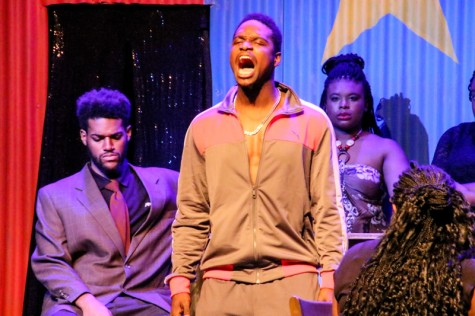 Ruined the new LMC play. Cast members are:(left to right) Tre'vonne Bell.,Michael Burks and Dee White as Mama M. Cathie Lawrence/Experience.