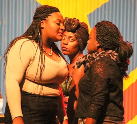 Ruined the new LMC play, Cast members in this scene are:(Left to right) Alante Blackmon, center is Shatori Hines and Eylsse Green.Cathie Lawrence/Experience.