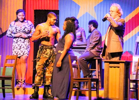 Ruined the new LMC play, Cast members in this scene are:(Left to right) Alante Blackmon, Tyrell Odom, Dee White,Tre'vonne Bell is sitting at the bar with Eylsse Green and WIlliam Thompson.