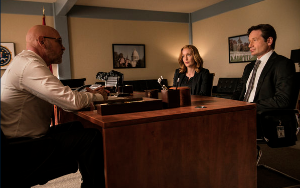 Mitch Pileggi, Gillian Anderson and David Duchovny in the new X-Files revival series.