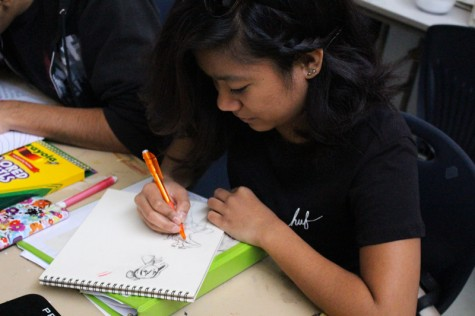 Los Medanos College student and Art Club member Trisha Balangan sketches a drawing during a meeting on Friday, Feb. 26.