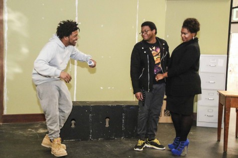 "Jamel Patterson, Dee White and Devareay Williams rehearsing for LMC's latest production ""Radio Golf,"" which is set to premiere Thursday, March 31 at the Little Theater."