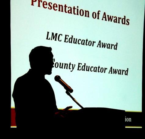 Drama Chair Nick Garcia speaking after receiving award