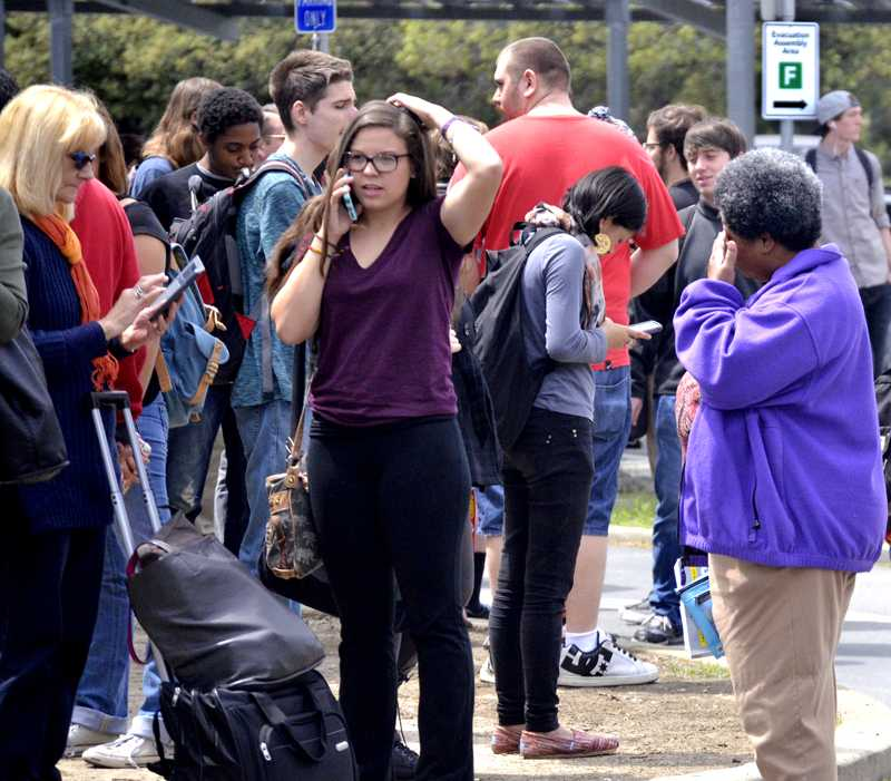 Members of the Los Medanos College community evacuated Tuesday, April 26 after a fault in the alarm system indicated a problem in the College Complex.