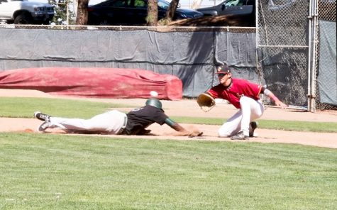 Above, Los Medanos College outfielder Jonathan Allen dives safely back into first base against Laney College on April 28 at home. Left, Los Medanos College pitcher Jack Higgins in mid pitching stride in the loss against Laney College.