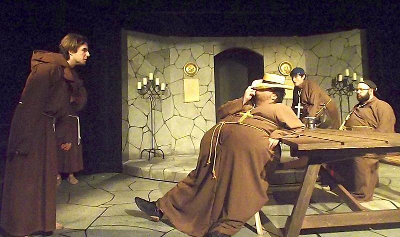 American Monk Paul along with Brothers Larry and Hugo played by Robert Dunn, Michael Simpson and Steve Millard, respectively, rehearse a scene.