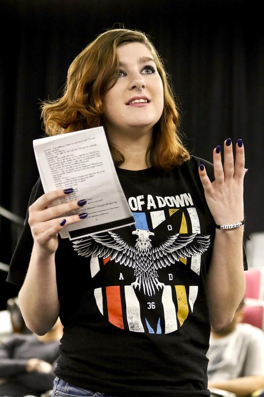 Sierra+Butler+recites+her+lines+from+script+Jan.+26+in+Little+Theater.
