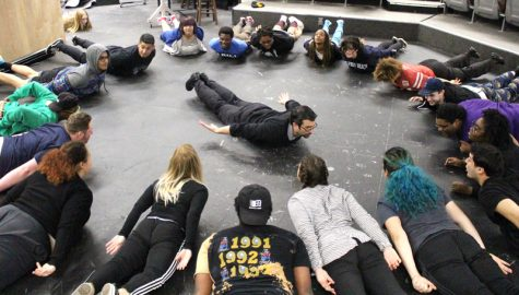 LMC Drama Department Chair Nick Garcia leads his students through and exercise during his DRAMA-021 class.