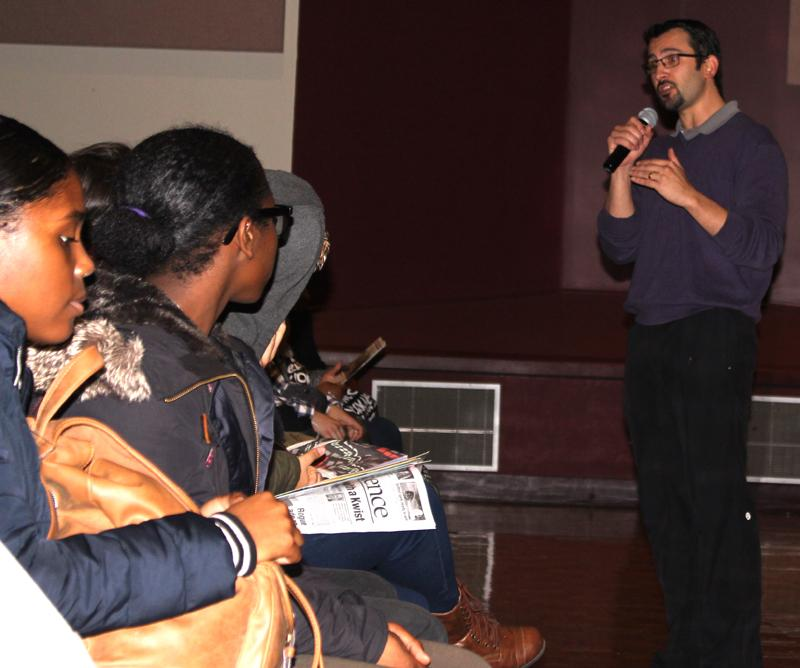Drama instructor Nick Garcia informs high schoolers at Career Focus Friday about various opportunities at LMC.