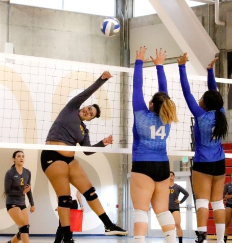 Samantha Rhodes smacks the ball over the net during LMC's game against San Mateo.