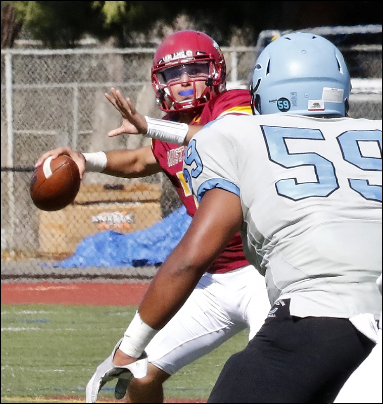 LMC+Quarterback+Sohail+Mohsini+attempts+to+make+a+pass+to+his+wide-receiver+against+the+Cabrillo+College+Seahawks.