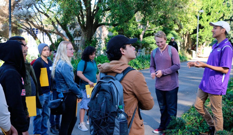 San Francisco State students Collin Finegan and Zoram Mercado give LMC students a tour of the campus showing what the school has to offer.