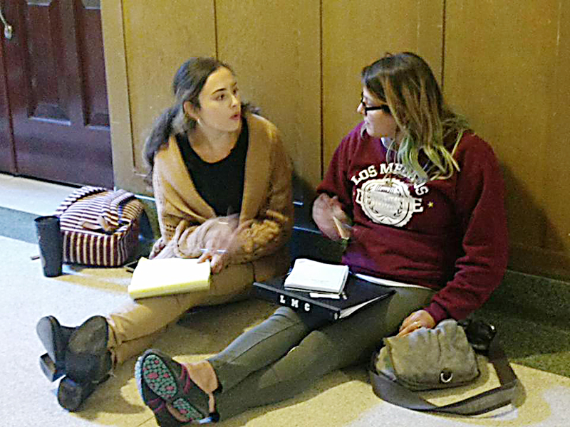 Hailey Solares and Kirstie Tabelin discuss topics, techniques and plans of action for their upcoming debates.