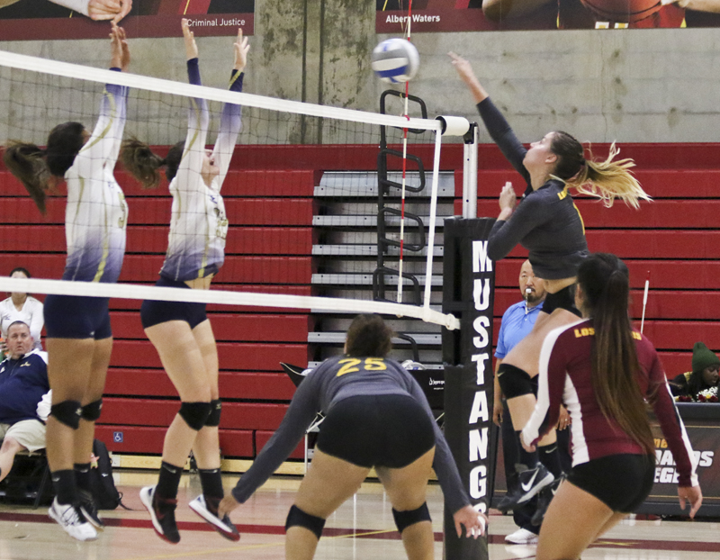Los Medanos Colleges Ashley Dixon spikes the ball for the kill against Yuba College Nov. 3